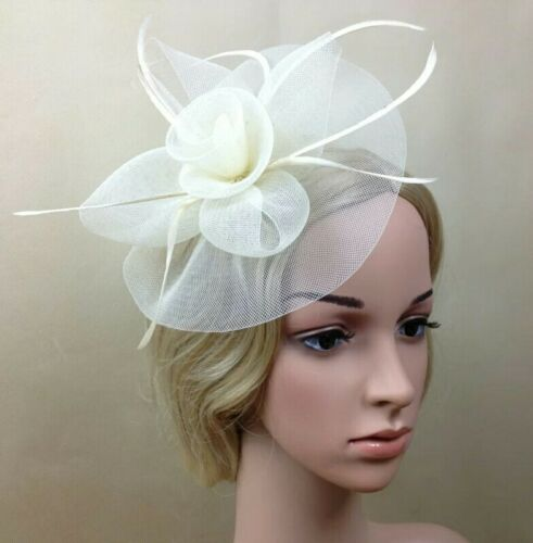 Cream Flower Feather Fascinator Hair Clip Pin Mesh Wedding Races UK STOCK