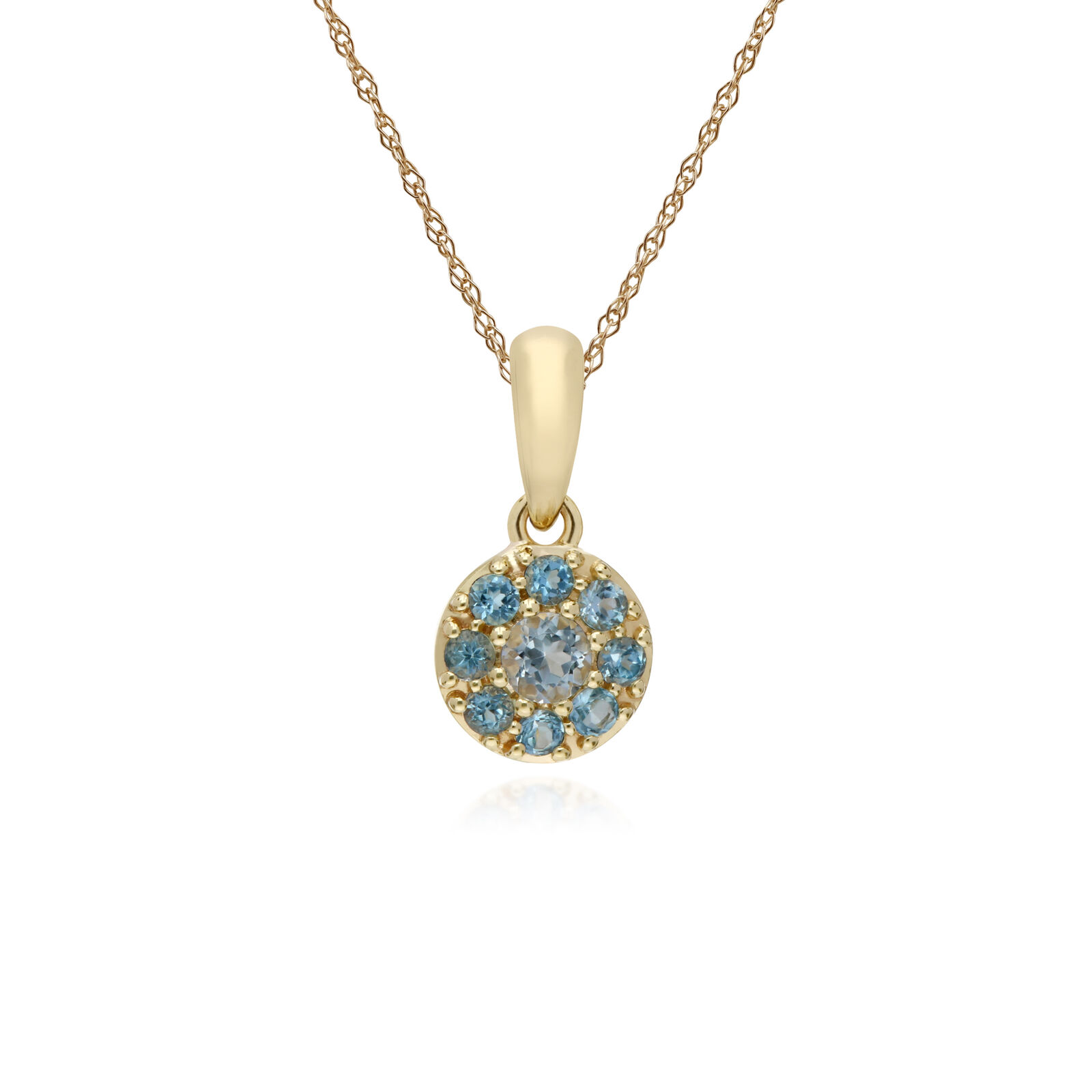 Gemondo 9ct Yellow gold bluee Topaz Round Cluster Pendant on 45cm Chain