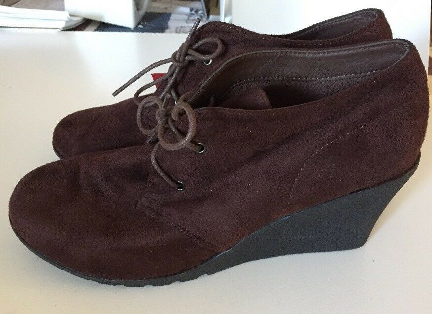 Grosby Brown Suede Wedge Heel Lace Up shoes Size 10 NEW Wedges