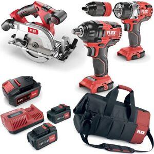 Flex-Pack-Cordless-Drill-Circular-Saw-Impact-Driver-1-2-034-3x-Battery-LG-Tas