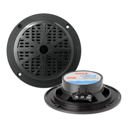"""PLMRB29BW Bluetooth USB Radio,Antenna,4/"""" Marine Speakers,3.5/"""" Box Black Speakers"""