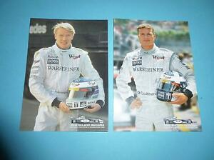 Mika-Haekkinen-und-David-Coulthard-2-Autogrammkarten-unsigniert-AGK-Formel-1