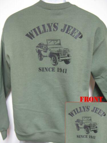 Willys Jeep SINCE 1941 CREWNECK SWEATSHIRT//gpw//mb//cj2a//cj3//cj5// MILITARY// NEW