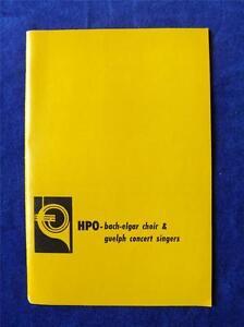 HPO BACH ELGAR CHIOR & GUELPH CONCERT SINGERS PROGRAM HAMILTON PHILHARMONIC 1971