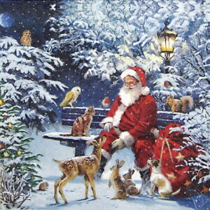 4x-Paper-Napkins-for-Decoupage-Craft-Party-Santa-on-Bench