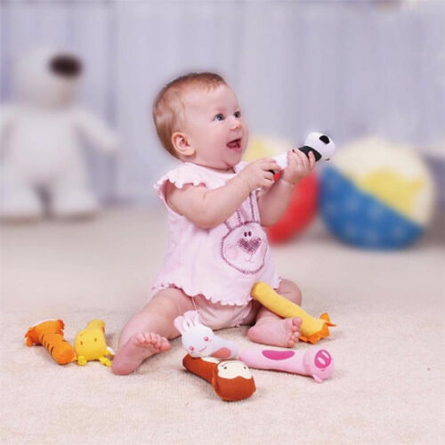 3D Soft Sound Animal Handbells plush Squeeze Rattle For Newborn Baby Toy Gifts
