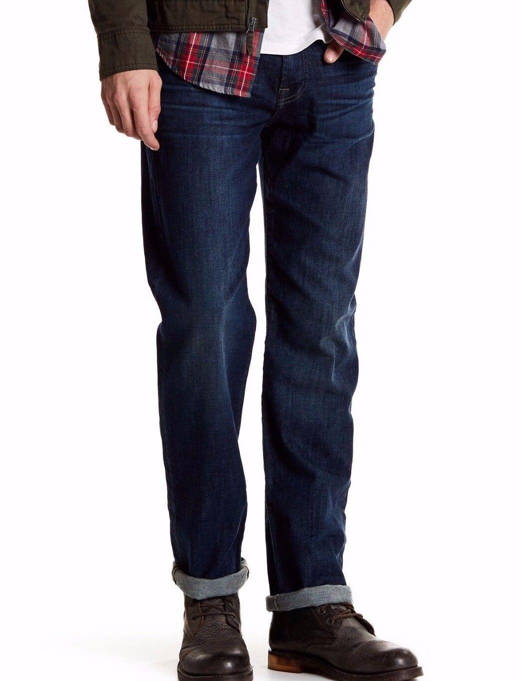 Nuova con Etichetta 7 per Tutti Sz40 Nera Slim Jeans Taglio Dritto Blu Medio Emn