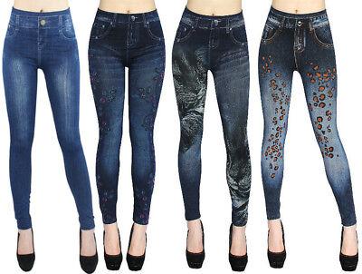 High Waist Damen Leggings in Jeans Optik Jeggings Blumen Muster One Size | eBay