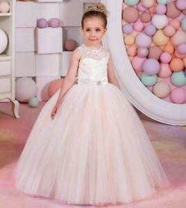 8cd4416c6 Lace Appliques Flower Girl Dress With Belt Ball Gown Holy Communion ...