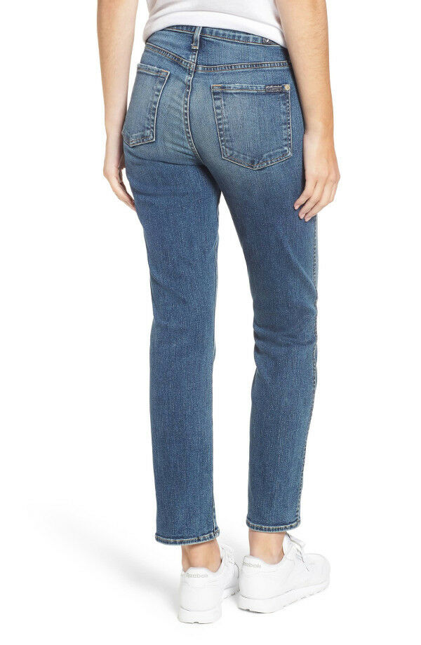 NEW 7 FOR ALL MANKIND Edie High Waist Crop Straight Jeans 32 in Authentic Medium