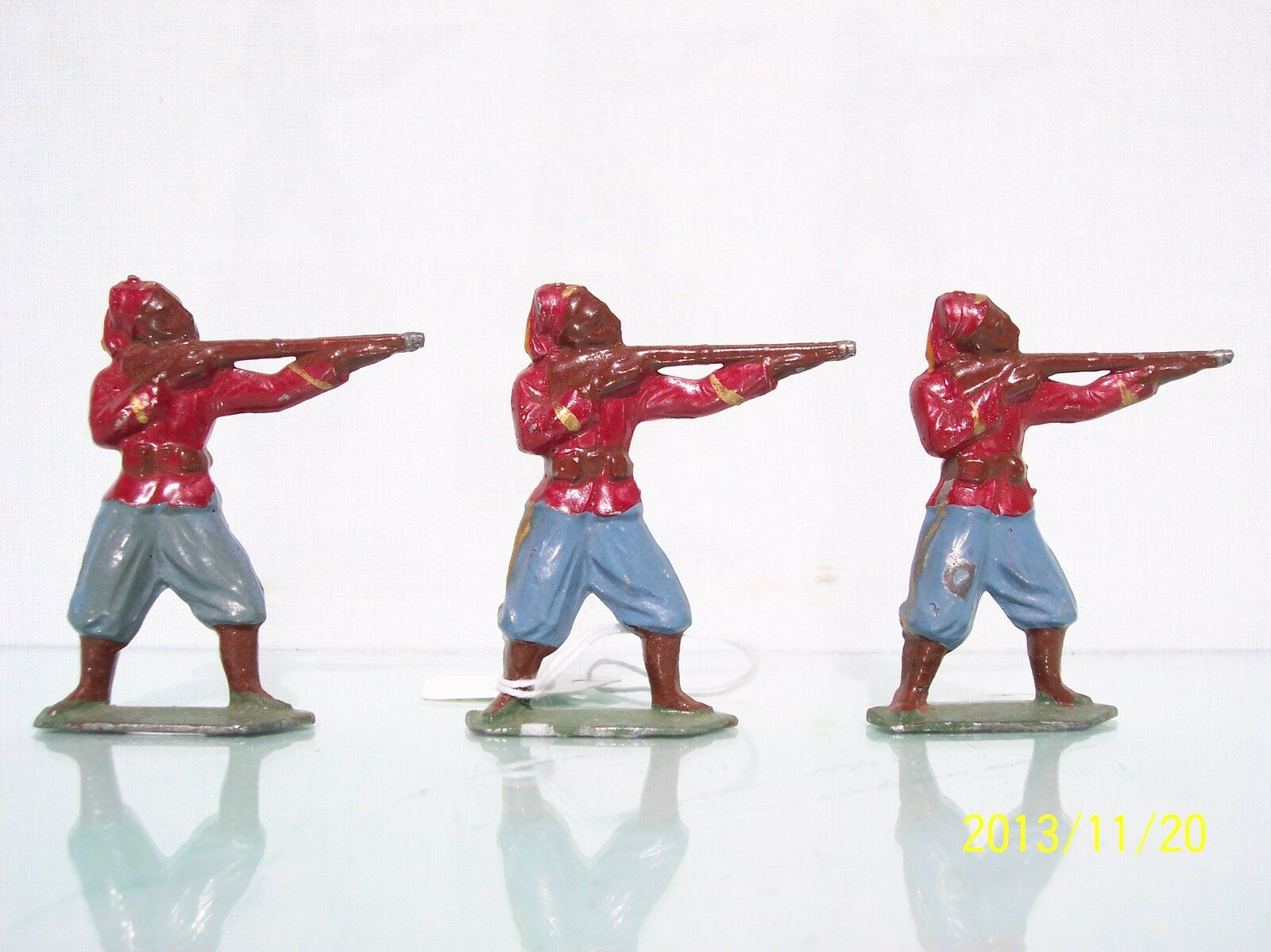 FRANCE FRANCE FRANCE LEAD (3) 55MM J.F. FRENCH ZOUAVES STANDING FIRING EX 986