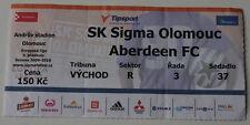 old TICKET EL Sigma Olomouc Czech Republic - Aberdeen FC Scotland