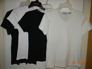LOT-of-4-Solid-Colored-Tops-Ladies-Size-S-2-Black-and-2-White-FREE-SHIPPING