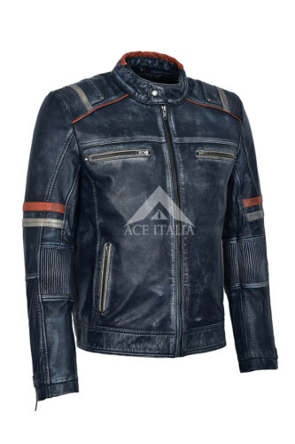 da Speed Navy Racer 100 Distressed uomo motociclista Cafè Leather Giacca Vintage 2633 da BFqxSEwWz