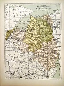 Map Of N Ireland.Details About Irish Map County Londonderry Derry Portrush N Ireland Color Pw Joyce 1905 7x9 5