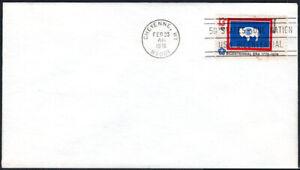 Ee. Uu. FDC, Sc# 1676 , Estado Bandera Wyoming, Cancelado ,No Cachet, 1976