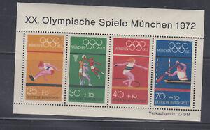 Allemagne Jeux Olympiques 1972 Sc B490 Complet Neuf Sans Charnière-afficher Le Titre D'origine