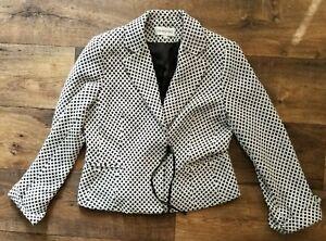 Print Blazer Størrelse Jacket Women's 12 Geometrisk Sort Bloomingdale's Hvid Lined R1B4aw