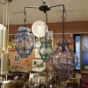 Italian-Caged-Glass-Hanging-Lamp-Metal-Triple-3-Globe-Mid-Century-Light-Swag