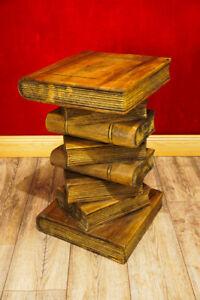 Massivholz-Beistelltisch-Buecherstapel-Podest-Holz-kolonial-Telefontisch-Tisch