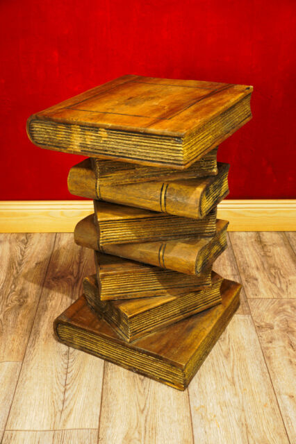Massivholz Beistelltisch Bücherstapel Podest Holz kolonial Telefontisch Tisch