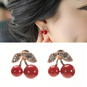 Women-Charm-Red-Cherry-Earrings-Cute-Beads-Rhinestone-Leaf-Stud-Earrings-BDAU