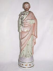 08D54-ANCIENNE-STATUE-RELIGIEUSE-SAINT-JOSEPH-43-5-cm-BISCUIT-DE-PORCELAINE-XIXe