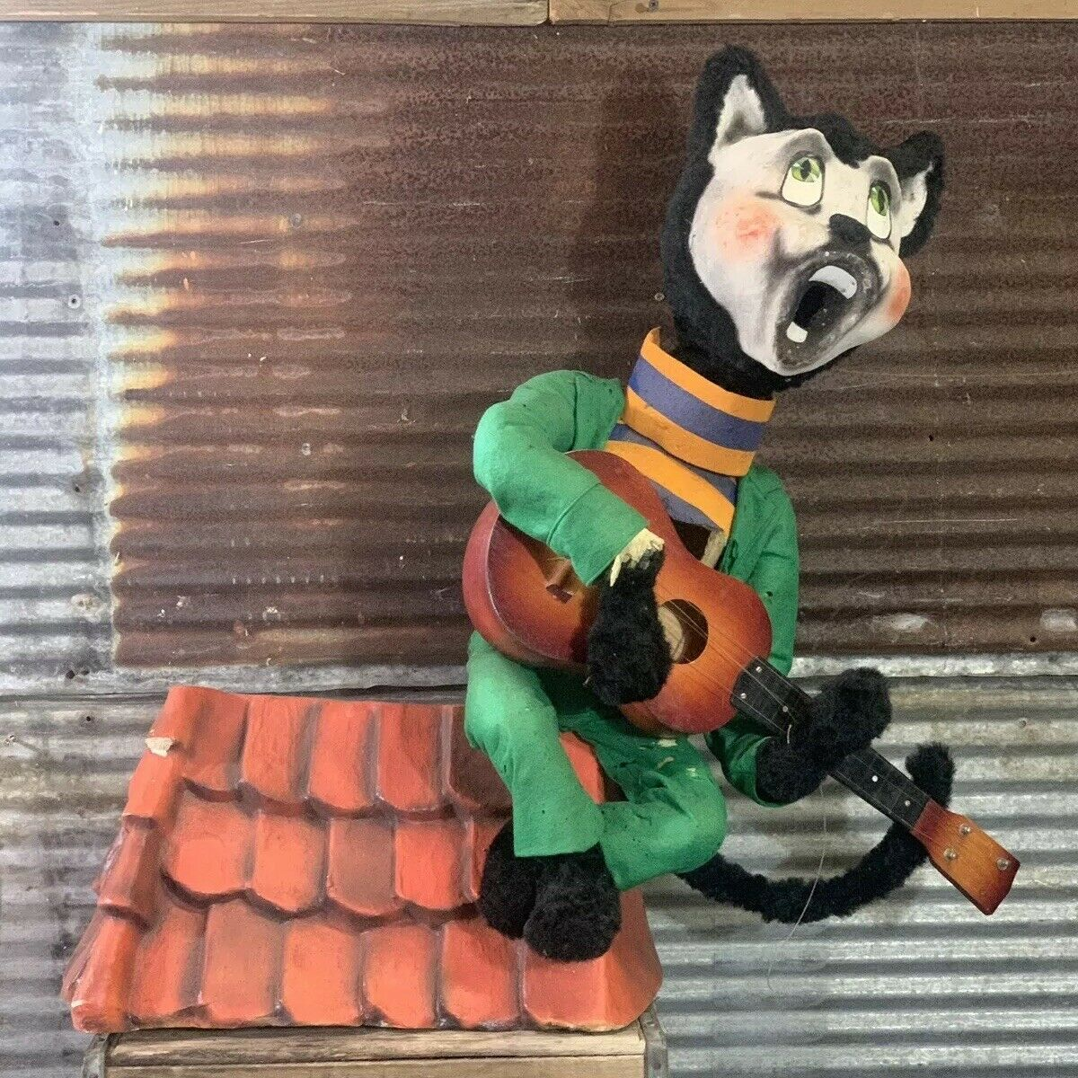 Vtg 40s 50s Mechanical Animatronic Cat On Hot Tin Roof Playing Guitar Sign WORKS