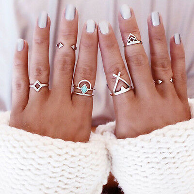 6pcs/Set New Bohemian Turquoise Arrow Ethnic Boho Open Midi Knuckle Ring