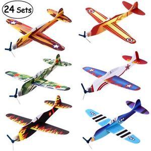 24X/Set Foam Glider Prop Flying Gliders Plane Aeroplane Kids