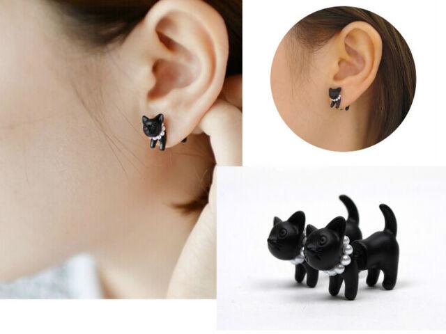 1PC Cute Stereoscopic Pearl Cat Kitten Impalement Ear Stud Earring Punk Cool