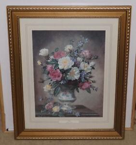 Large-Vintage-Wood-amp-Glass-Framed-Art-Print-Floral-ROSES-by-Albert-Williams