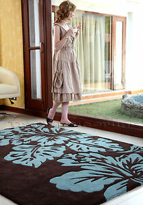EXTRA-LARGE-THICK-100-INDIAN-WOOL-HAND-MADE-CHOCOLATE-BROWN-BLUE-RUG-150x240