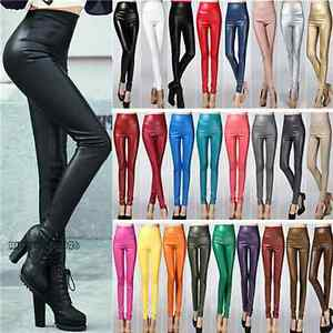 Women-039-s-High-Waist-Faux-Leather-Warm-Skinny-Pants-Leggings-Trousers-24-Color-YJ