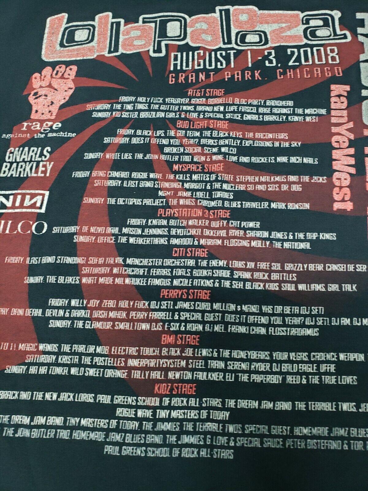 Lollapalooza T-Shirt 2008 Radiohead Rage Against … - image 3