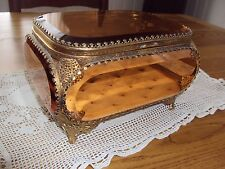 Lg  Vintage Ormolu Gold Filigree Beveled Peach Glass Jewelry Vitrine Casket Box