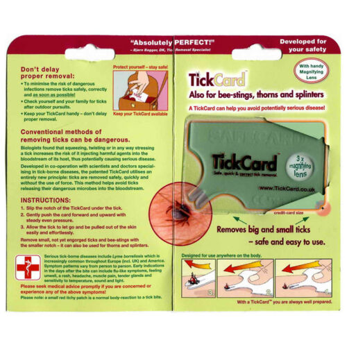 TickCard Credit Card Size Tick Removal Tool Easy Safe for Humans//Pets//horses etc
