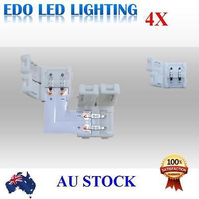 4pcs L shape 3528 single color led strip light connectors 8mm Joiner Joint clips