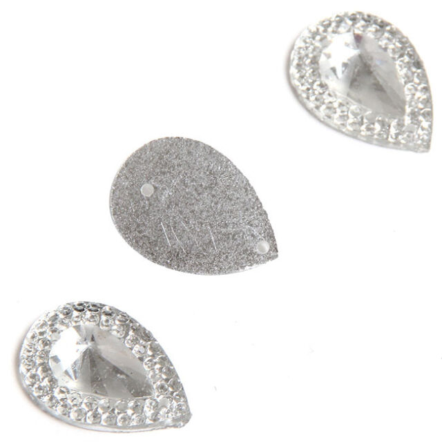 50x 24840 Clear Faceted Teardrop Sew-on Resin Rhinestone Buttons13x18mm Applique