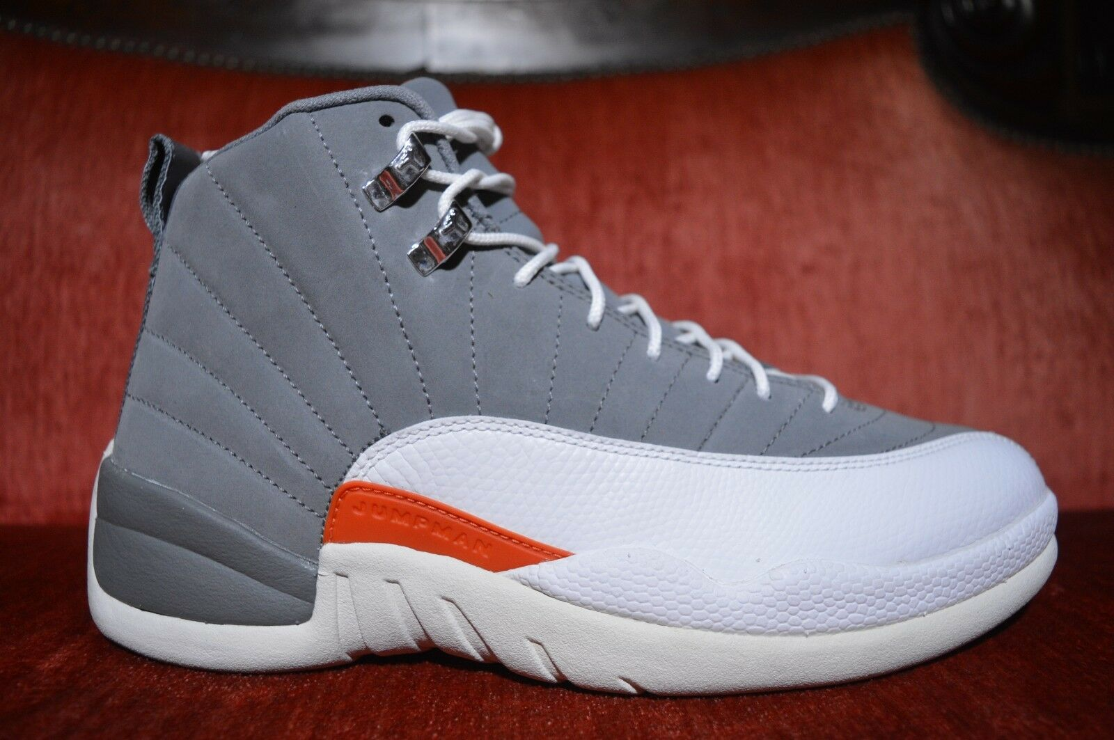 timeless design c6baa ff882 CLEAN Nike Air Jordan XII 12 Retro Cool Grey White-Orange Grey White