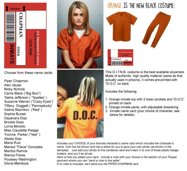 Orange is the New Black WOMENS 2 pc PRISON COSTUME cosplay Inmate Halloween dvd
