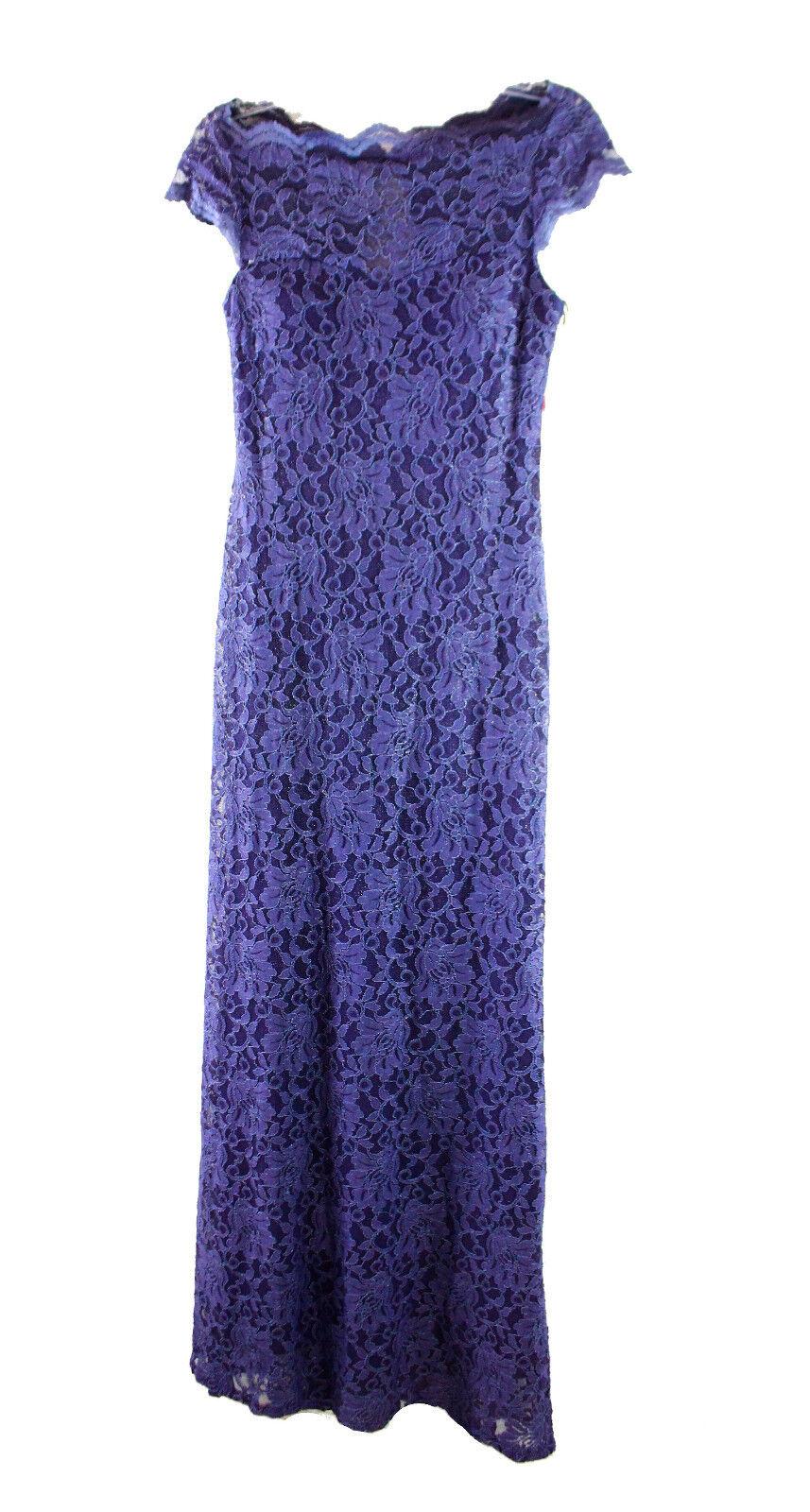 Nightway Women's Size 4 Purple Steel Illusion Lace Sheath Gown 2276-3