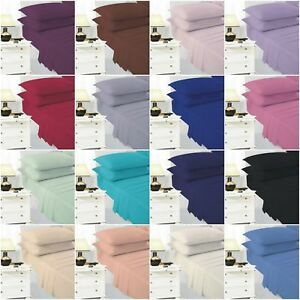 Flat-Bed-Sheet-Plain-Dyed-Polycotton-and-Pillow-cases-Single-double-King-sizes