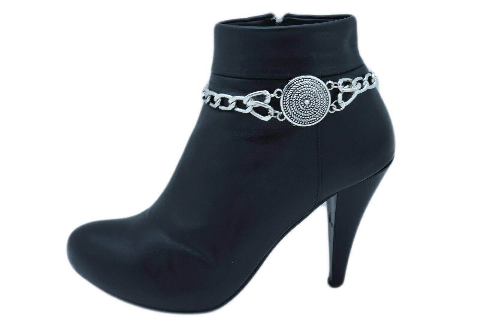 Women Silver Metal Chain Boot Bracelet Shoe Medallion Swirl Coin Charm Anklet