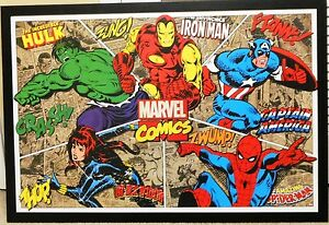 Marvel-Thor-Spiderman-Hulk-Iron-Man-Captain-America-Mega-38-X-26-Wooden-Poster