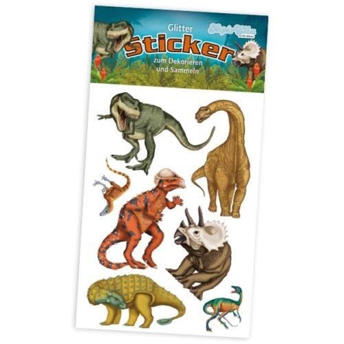 10,5cm x 5,6cm 1 Glitter-Stickerkarte mit Dinoaurier-Motiven