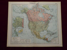 Landkarte Nordamerika, Alaska, Kanada, USA, Grönland, Otto Herkt 1905