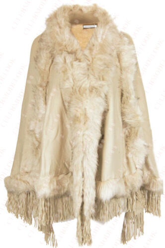 A79 NEW WOMENS FAUX LAYER FUR LADIES TASSEL FRINGE CAPE PONCHO IN PLUS SIZE 8-26
