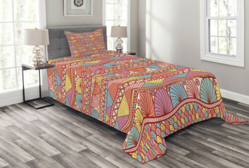 Details about  /Asian Quilted Bedspread /& Pillow Shams Set Colorful Ethnic Henna Print