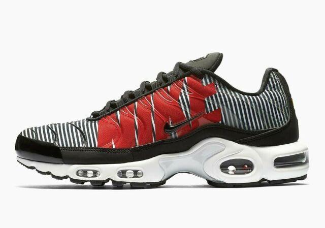 new style 5157e 02f72 Nike Air Max Plus TN SE (Size 9 - 11.5) Striped Black White Red AT0040-001  Zebra